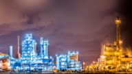 Night scene of Oil and Chemical Plant - Time Lapse video