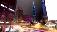 night scene of taipei,with busy traffic,time lapse video