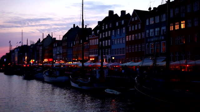 Night scenery of Nyhavn in Copenhagen, Denmark video
