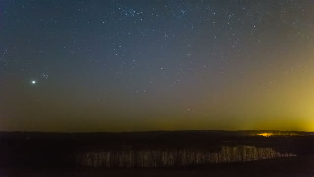 Night Sky ovet the Lake with falling meteorite video