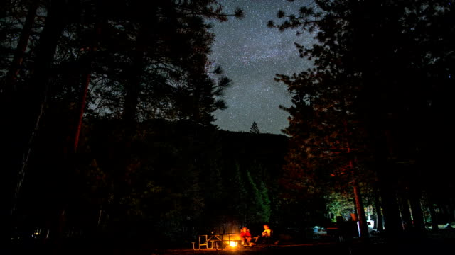 Night Stars Over Camping and Campfire Forest Timelapse video