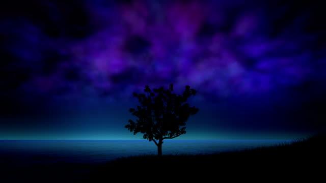 Night storm with lightning loop video