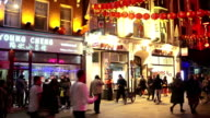 PAN Night Street Scene In London Chinatown video