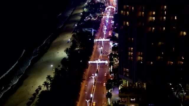 Night street traffic Asian megapolis aerial view. video
