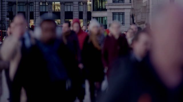 Night time city business workers walking video