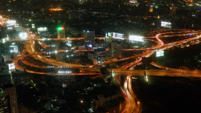 Night Time lapse Aerial view of rush hour traffic on expressway video