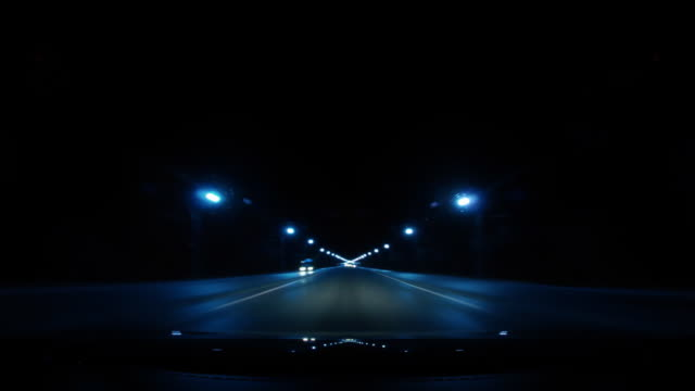 Night time lapse of a car driving video