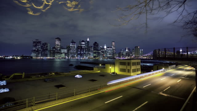 Night time lapse of downtown NYC with traffic video