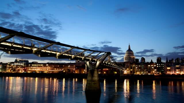 Night time lapse of Millennium Bridge in London video