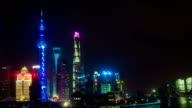 Night time lapse of the Huangpu river, the Pudong financial business district, and the Bund, Shanghai skyline, urban China video