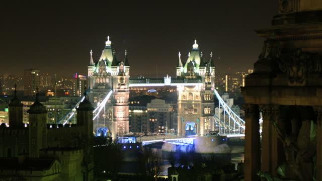 Night timelapse at Tower Bridge, London video