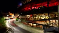Night timelapse by the interesting Shaw center in Ottawa, Canada video