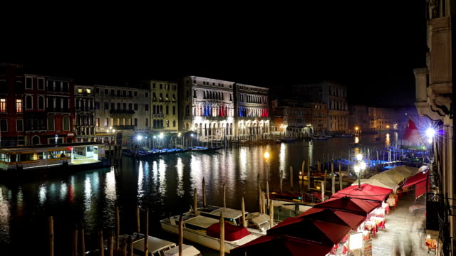Night timelapse of Grand Canal in Venice - Italy video
