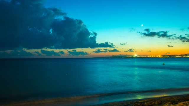 Night Timelapse Palma de Mallorca Beach Cruise Ship Majorca video