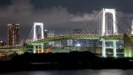 Night Time-Lapse Tokyo Japan Rainbow Bridge video