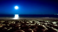 Night time-lapse video of seascape, shoreline and moon video