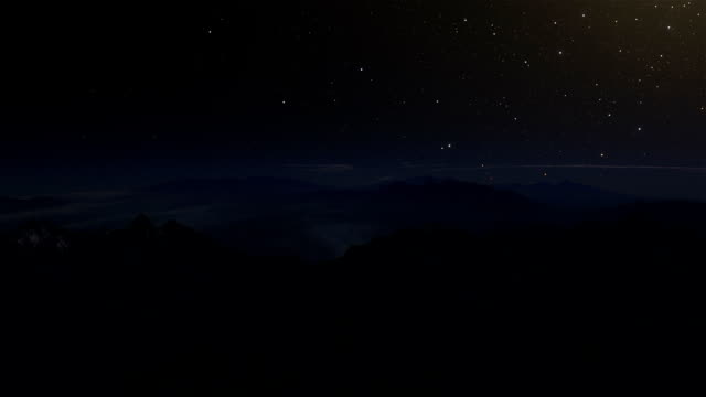 Night to Day Hyperlapse Animation of a Voyage Over Wintry Mountain Tops video