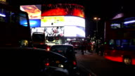 Night Traffic At London Piccadilly Circus video