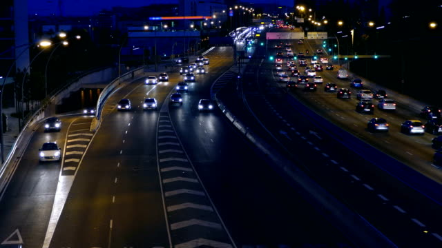 Night Traffic in Barcelona.. Time Lapse video