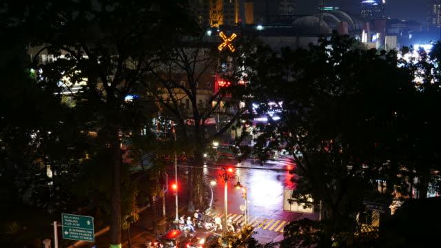 Night traffic in Bundung, Indonesia video