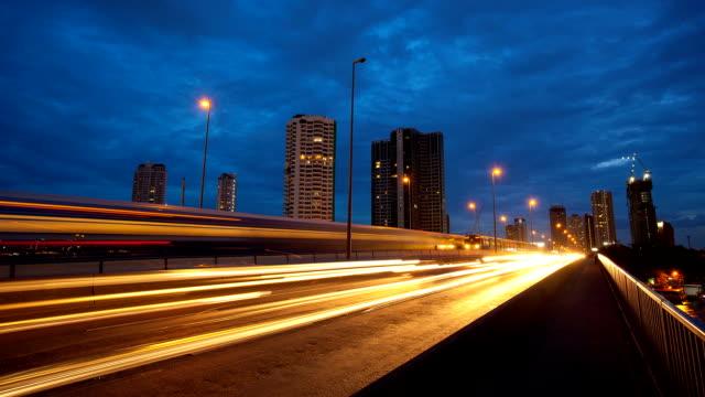 Night traffic lights video