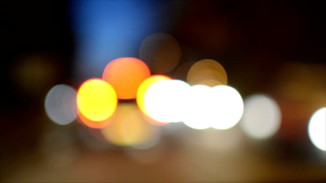 Night traffic on road bokeh video