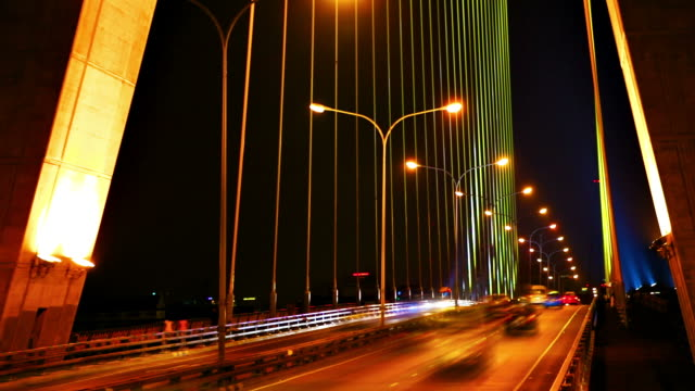Night traffic on the bridge video