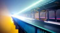 Night traffic over bridge - time lapse video video