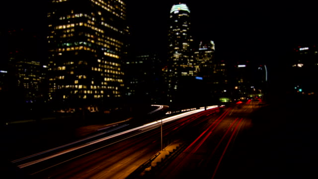 Night Traffic Time Lapse in Los Angeles video