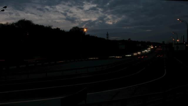 Night traffic time lapse video