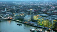 Night view of City of London, London hall and river Thames video