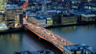 Night view of City of London. view from the 35 floor includes London bridge and lots of traffic video