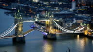 Night view of City of London. view from the 35 floor includes Tower bridge video