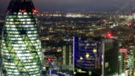 Night view of City of London. view from the 35 floor includes lit up office buildings video