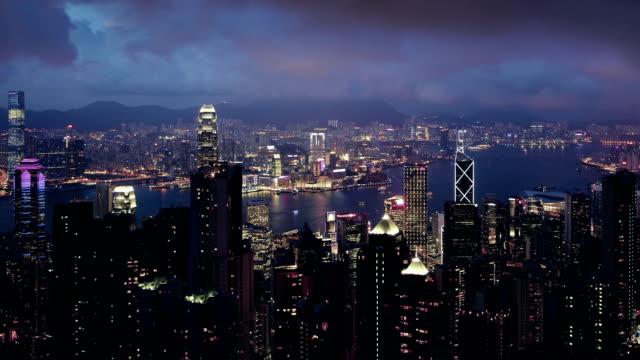 Night view of Hong Kong - video