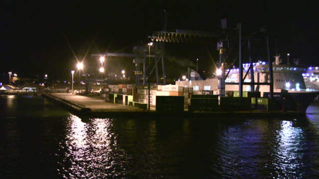 Night view of industrial port video