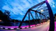 Night View of iron Bridge in Chiang mai Thailand video