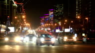 Night view of New Arbat traffic in Moscow, Russia video