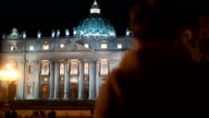 Night view of St. Peters Basilica in Vatican City video
