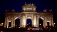 Night view of The Puerta de Alcala in Madrid, Spain - a monument in the Independence Square video