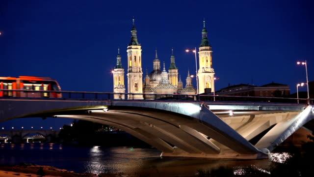 Night view of Zaragoza, Spain video