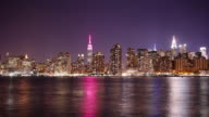 night view on manhattan and pink light empire state building 4k time lapse from new york video