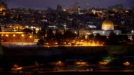 Night view to Jerusalem old city, Israel video