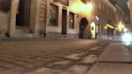 Night Vilnius. Moving car on the street video