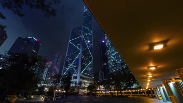 night walking street 4k time lapse from hong kong city center video