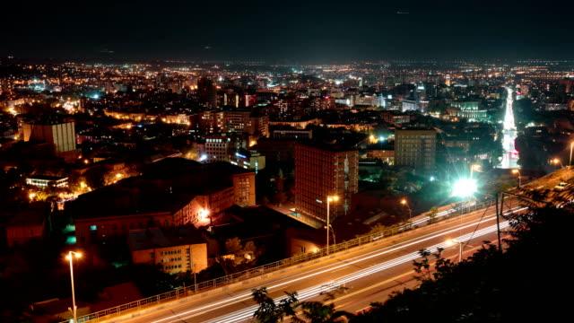 Night Yerevan, Armenia timelapse video