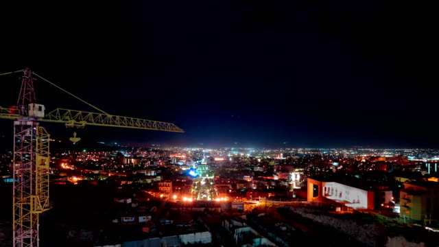 Night Yerevan, Armenia timelapse. View from the overview of the cascade video