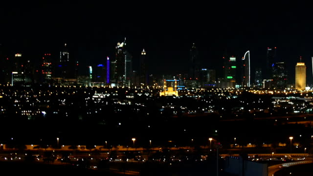 Nightscape of Dubai skyscrapers. video