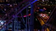 Nightscape of office illumination surrounding the ferris wheel at Minato Mirai 21. video