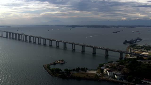 Niteroi Bridge At Rush Hour  - Aerial View - Rio de Janeiro, Brazil video
